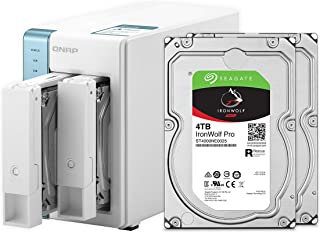 QNAP 2 Bay Home NAS with 4TB Storage Capacity, Preconfigured RAID 1 Seagate IronWolf Drives Bundle,with Two 1GbE Ports (TS...
