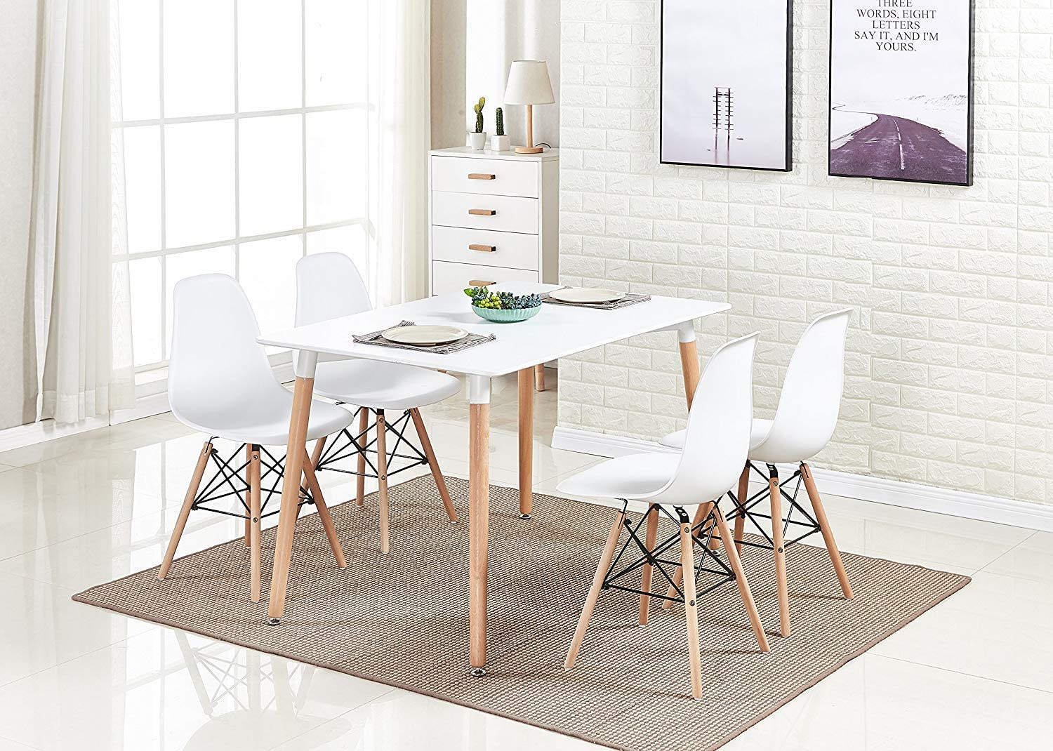 HomeSailing White Wood Dining Table and 9 Chairs Set 9 Pieces Kitchen White  Wooden Dining Table and 9 Retro Eiffel Plastic Chairs for Dining Room ...