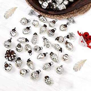 Indian Shelf Handmade 25 Piece Glass Assorted Glass Turquoise Silver Red Reusable Christmas Hangings X-mas Tree Balls Mix ...