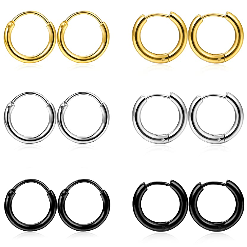 FIBO STEEL 2-8 Pcs 6-12mm Stainless Steel 16g 18g Cartilage Hoop Earrings for Men Women Nose Ring Helix Septum Couch Daith Lip Tragus Piercing Jewelry Set