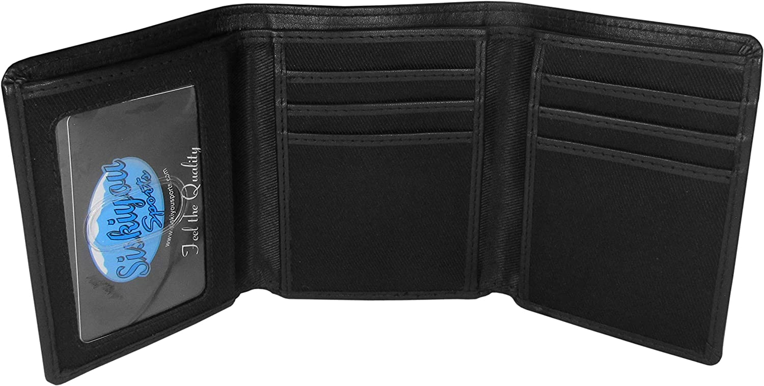NFL Green Bay Packers Unisex Siskiyou SportsLeather Tri-fold Wallet, Large Logo, Black, One Size : Sports & Outdoors