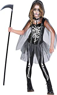 Suit Yourself Grim Reaper Costume for Girls, Size Small, Includes a Skeleton Dress, Matching Leggings, and a Cape
