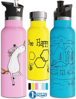 Involve & Evolve Insulated Water Bottle with 3 Lids (Straw Lid) Kids Reusable Double Walled Stainless Steel Flask Metal Th...