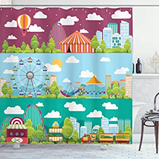 Ambesonne Circus Shower Curtain, Conceptual City Banners with Carousels Slides and Swings Ferris Wheel Attraction, Cloth Fabric Bathroom Decor Set with Hooks, 70