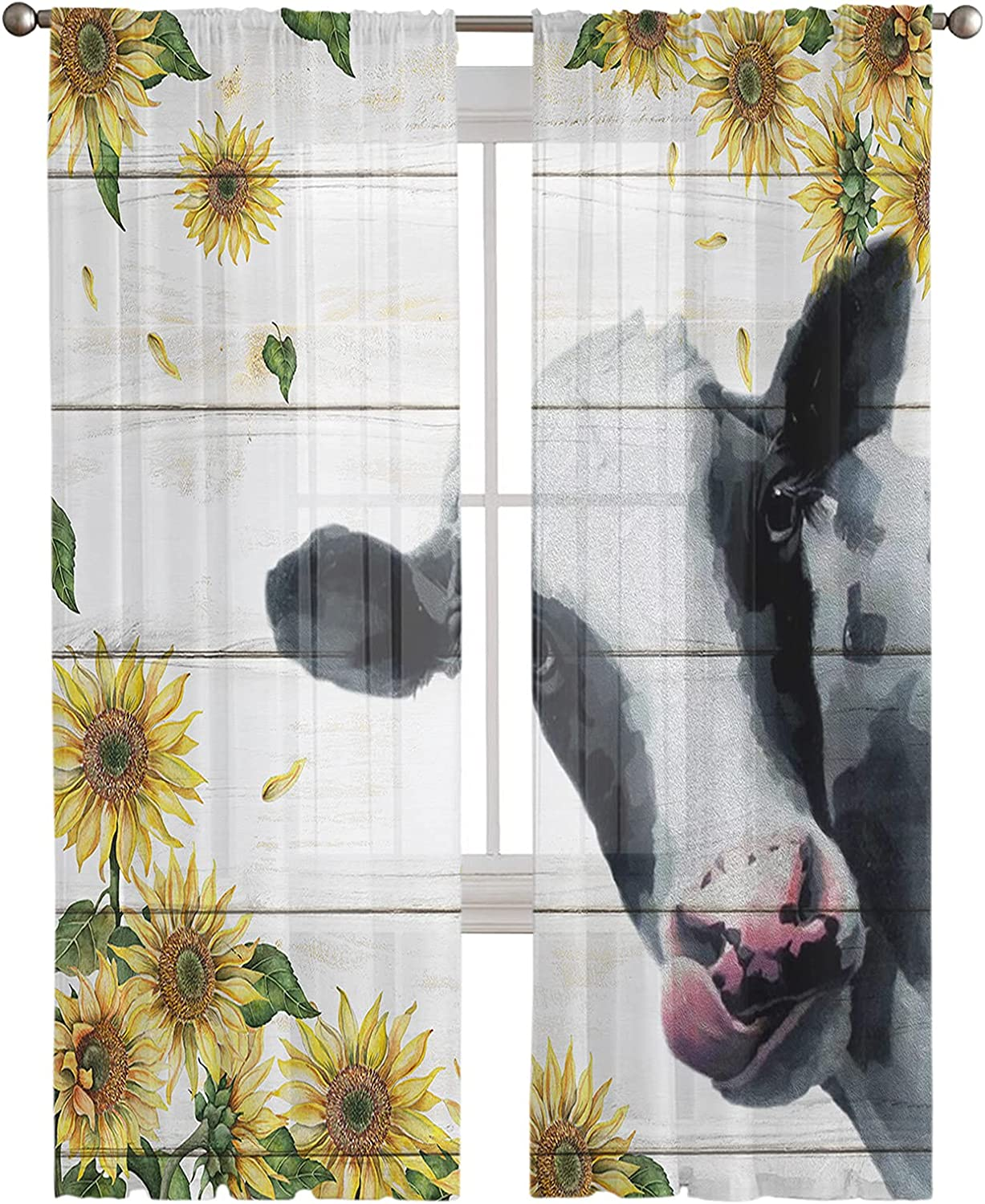 Semi Sheer Window Curtain for Living Room free 2021new shipping free shipping Sunflower Bedroom Farm
