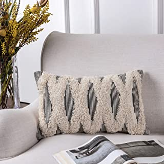 Azume 12 x 20 Inch Boho Tufted Throw Pillow Cover with Tassel Cotton Woven Cushion Cover Tribal Pillow Cover for Living Room, Bedroom, Office Cushion, Bench, Couch, Sofa, Chair, Grey