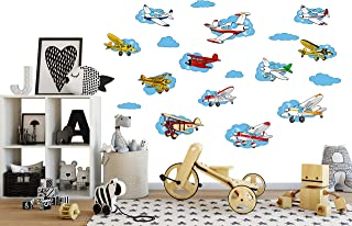 Flyboy Toys 18 Cartoon Airplanes - Peel & Stick Wall Decals/Stickers - Boys, Nursery, or Kids Room