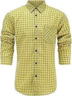 Men's Slim Fit 100% Cotton Long Sleeve Plaid Dress Shirt