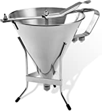 Confectionery Funnel With Stand and Three Nozzles - Stainless Steel Commercial Grade Cake Decorating Tool - Precise Dispensing and Filling - By O'Creme