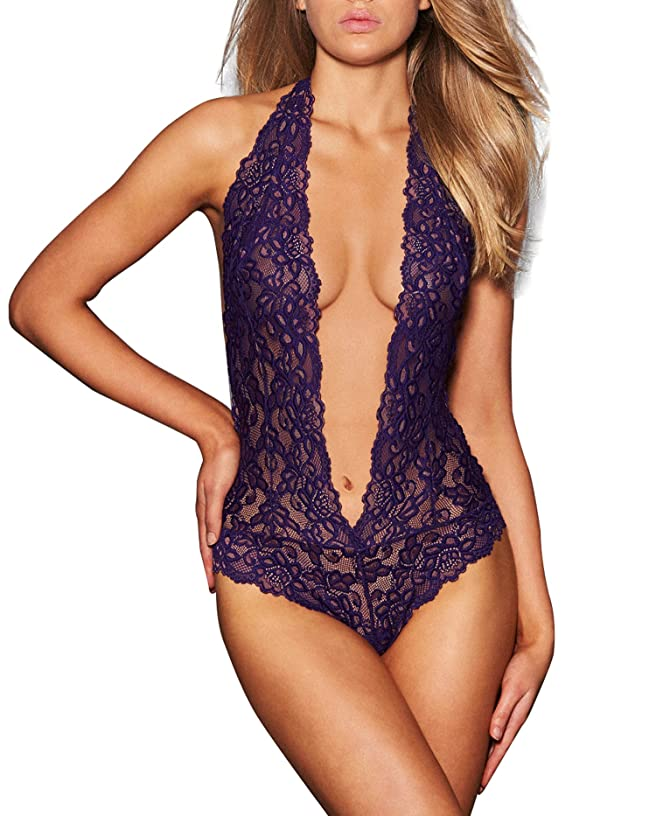 Womens Halter Sexy Lingerie Lace Teddy Bodysuit Deep V Nightwear S-2XL