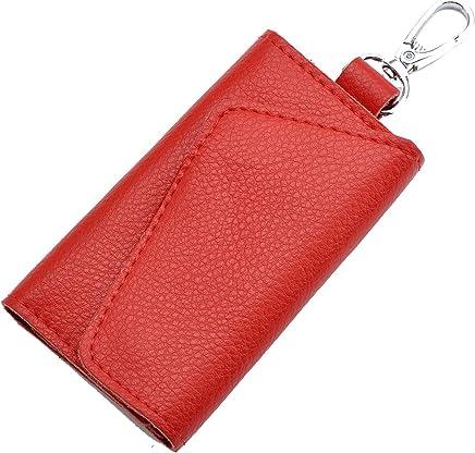 Heshe Leather Key Case Wallets Unisex Keychain Key Holder Ring with 6 Hooks Snap Closure (jester red)