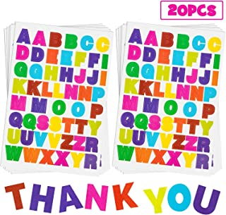 20 Sheets Alphabet Letter Stickers 10 Colors Self Adhesive Sticker Colorful PU Material Convex Feeling (Colored Letter Stickers 1)