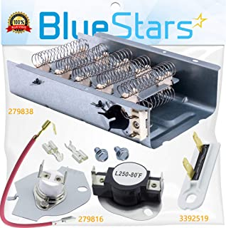 279838 & 279816 & 3392519 Dryer Heating Element and Thermal Cut-off Fuse Kit Replacement by BlueStars- Exact Fit For Whirlpool & Kenmore Dryers