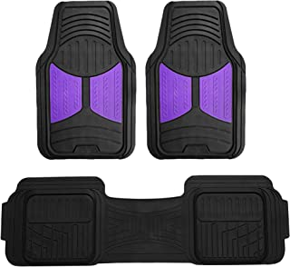 FH Group F11513 Car Floor Mats (3 pcs) Heavy Duty Rubber Floor Mats All-Weather Full Set Mats w, Universally Designed to fit All Trucks, Cars, SUVs, and Other Automobiles- Purple/Black