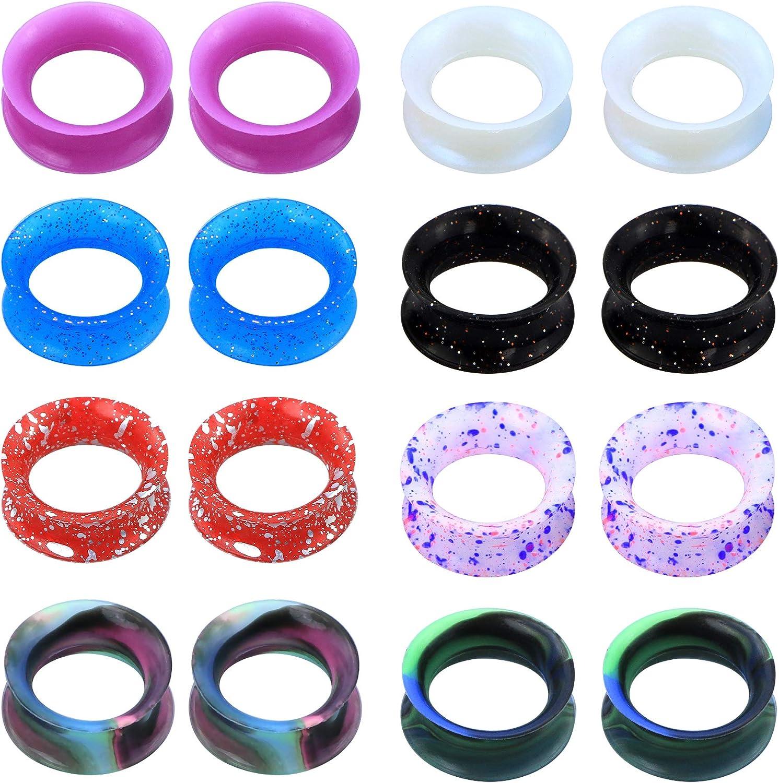 JEWSEEN Ear Gauges Tunnels 16Pcs Soft Silicone Gauges Flesh Tunnels 6g-1'' Flexible Ear Piercing Jewelry
