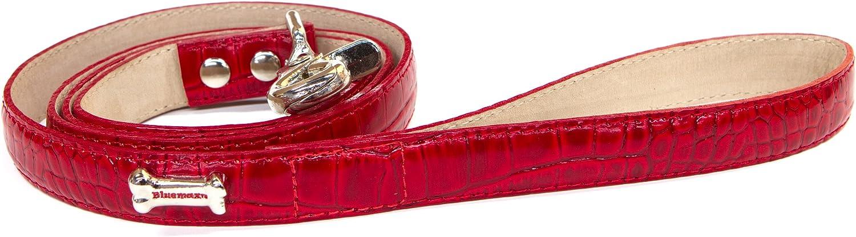 blueemax Genuine Leather Crocodile Cow Dog Leash with Bone Stud, 3 4Inch by 4Feet, Red