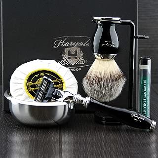 Haryali London 6 Pc Mens Shaving Kit 3 Edge Razor with Synthetic Badger Hair Shaving Brush, Stand, Soap, Bowl and Alum Perfect Set for Men