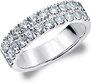 1 CT Double Row Lab Grown Diamond Ring in 14K Gold, Sparkling in E-F Color and VS Clarity