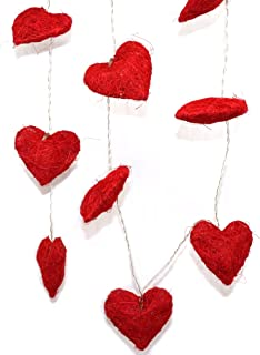CVHOMEDECO. Red Hemp Woven Heart Shape LED String Lights Battery Operated for Home Bedroom Wedding Party Birthday Valentin...