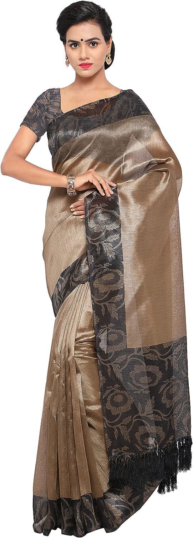 Rajnandini Women's Tussar Silk Printed Saree(JOPLNB3016D_Beige And Charcoal)