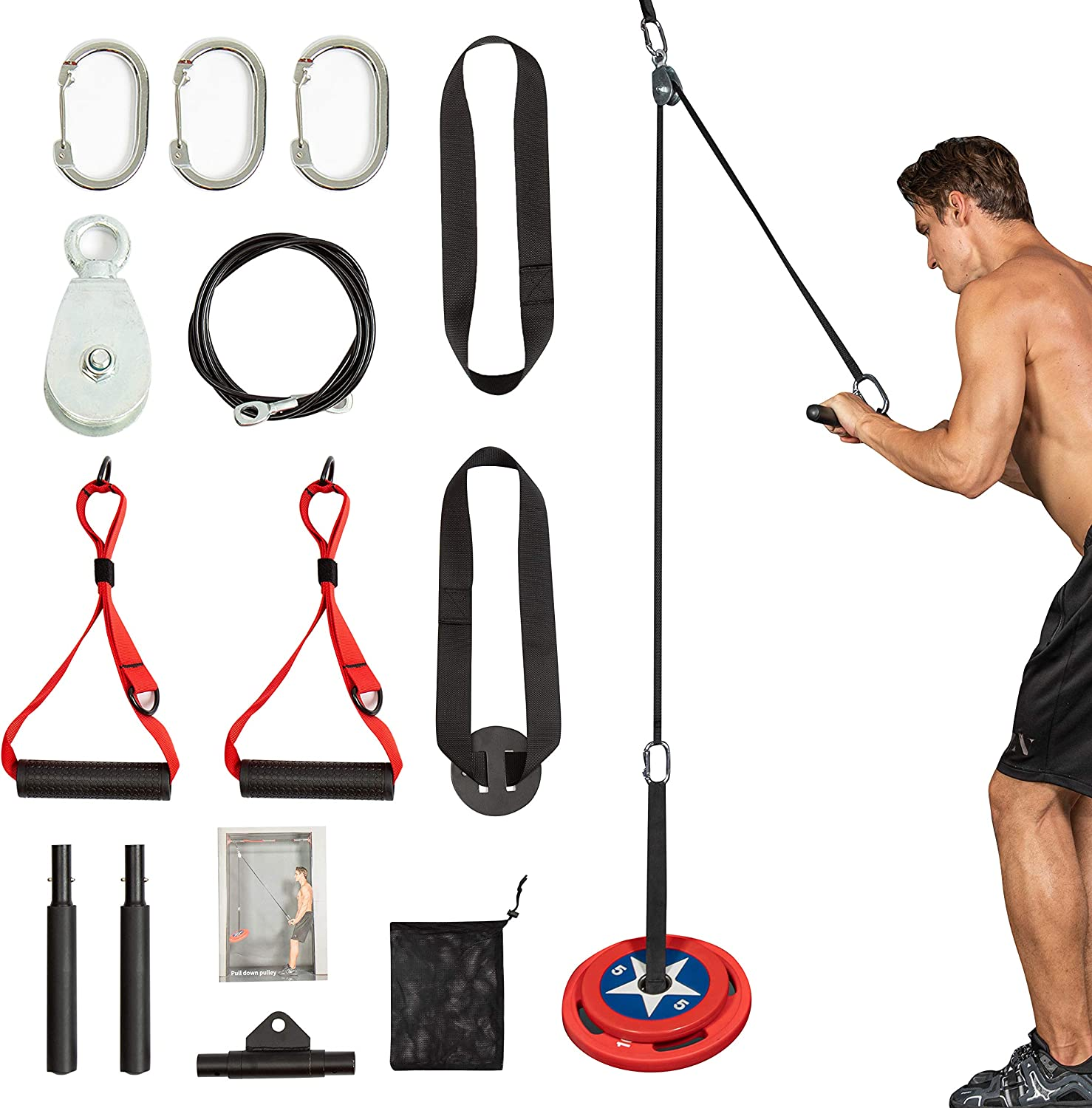 Clothink Cable Machine Attachments Rowing Machine Handle Fitness LAT and Lift Pulley Cable Machine