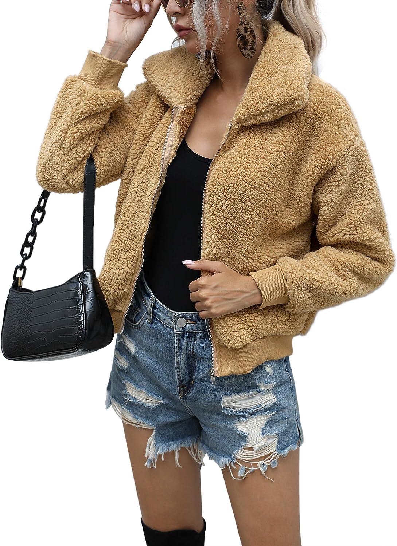 AKEWEI Women's Lapel Fleece Shearling Jacket Cropped Teddy Bear Jacket Zipper Faux Fur Coat