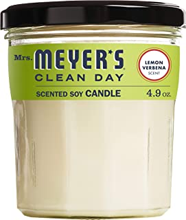 Mrs. Meyer's Clean Day Scented Soy Candle, Lemon Verbena, Candle, 4.9 ounce