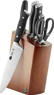 BALLARINI Bloc de Couteaux, 7 Pièces, Bloc en Bois, Couteaux & Ciseaux en Acier Inoxydable Spécial/Manche Plastique, Savuto