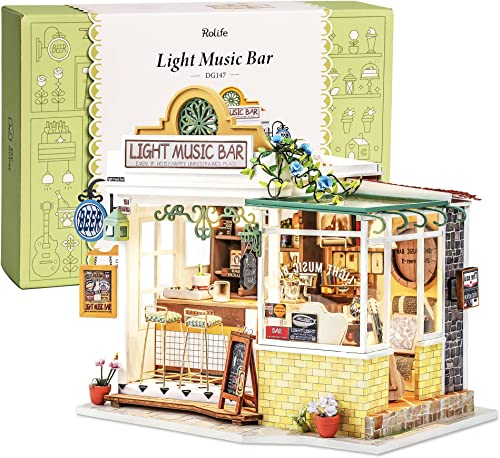 wholesale Rolife DIY Miniature Dollhouse new arrival Kit Miniature House Kit with Furniture and LED,Tiny Building House Kit,Best Gift for lowest Kids(DG147 Light Music Bar) outlet sale