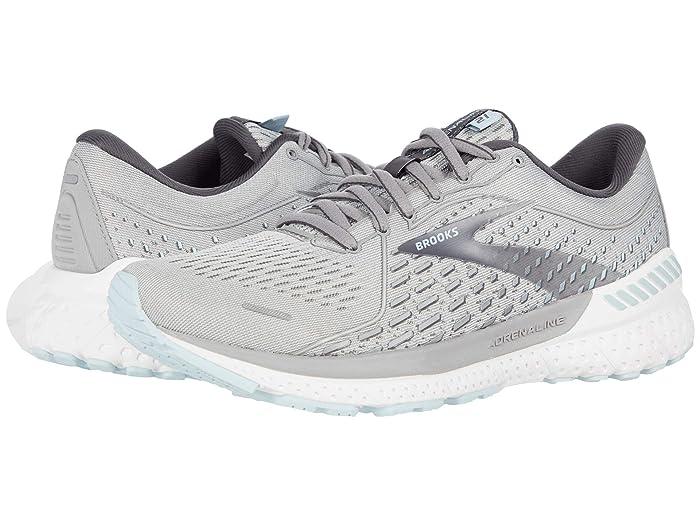 Brooks Adrenaline GTS 21 (Oyster/Alloy/Light Blue) Women's Running Shoes