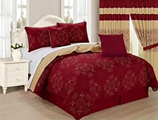 All American Collection New 6pc Circle Reversible Embroidered Bedspread/Quilt Set (King 6pc, Burgundy)