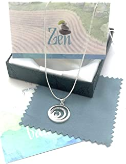 Smiling Wisdom - Balance Necklace Gift Set - 3 Round Circles Balancing - Cubic Zirconia - Real Sterling Silver Plated - Zen, Joy, Happiness, Serenity, Woman Jewelry Gifts for Her Woman Friend - Silver