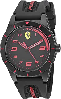 Ferrari Boy's RedRev Quartz TR90 and Silicone Strap Casual Watch, Color: Black (Model: 860006)