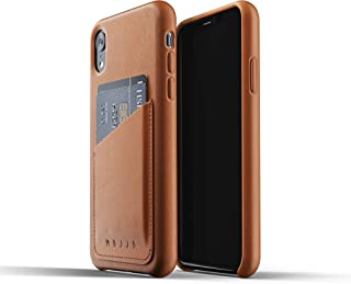 Mujjo Full Leather Wallet Case for iPhone Xr   Premium Genuine Leather, Natural Aging Effect   Leather Pocket for 2-3 Cards, Wireless Charging (Tan)