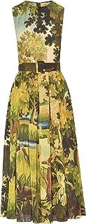 Oscar de la Renta Sleeveless Landscape Midi Day Dress
