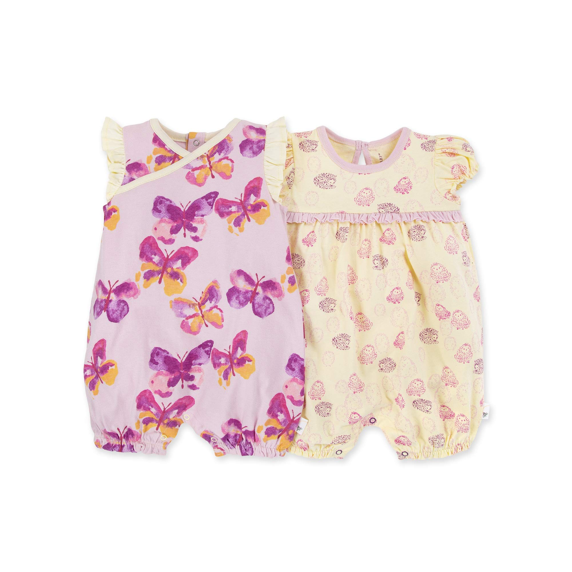100/% Organic Cotton Burts Bees Baby Baby Girls Rompers Set of 2 Bubbles One Piece Jumpsuits