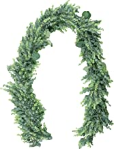 Bekka Bianka Eucalyptus Greenery Garland (5.5 Feet) - Silk Artificial Silver Dollar Eucalyptus Vine Garland Fake Plant Decor for Weddings, Outdoor and Holiday Party Decoration, Home and Wall Decor