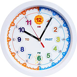 Amonev Time Teacher Children Wall Clock, Easy to Read clock with Silent movement. Teach children how to read an analogue clock with this, 29cm Diameter