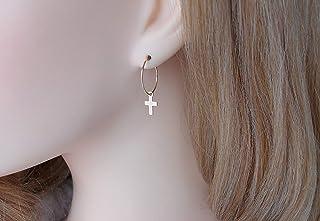 Créoles avec croix - Or - Boucles d'oreilles créoles - Petites Créoles - Boucles d'oreilles croix pendantes - Cadeau femme