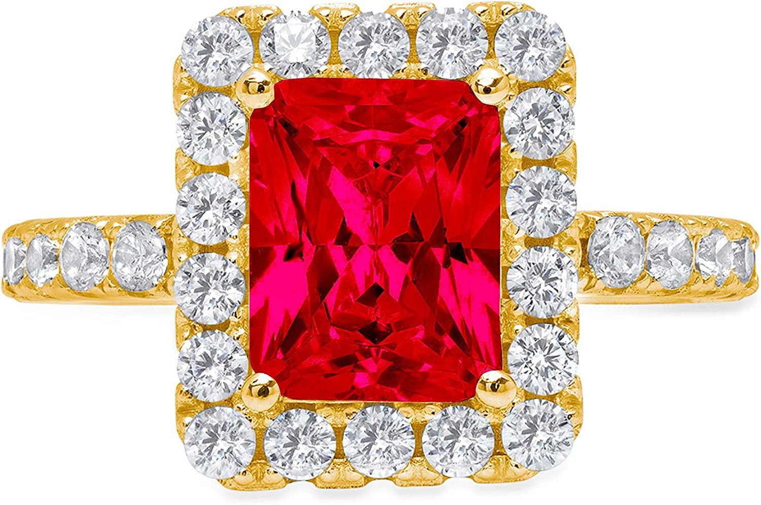 3.95 Brilliant Emerald Cut Solitaire with Accent Halo Stunning Genuine Flawless Simulated Pink Tourmaline Modern Promise Designer Ring 14k Yellow Gold