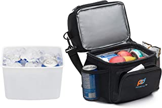MOJECTO Cooler Bag with Leakproof Hard Liner Bucket -Will Hold 6 Normal Soda Cans. Two Compartment, StrongFabric, Thick Foam Insulation, Strong Durable Double Zippers. Food, Medicines Cameras.