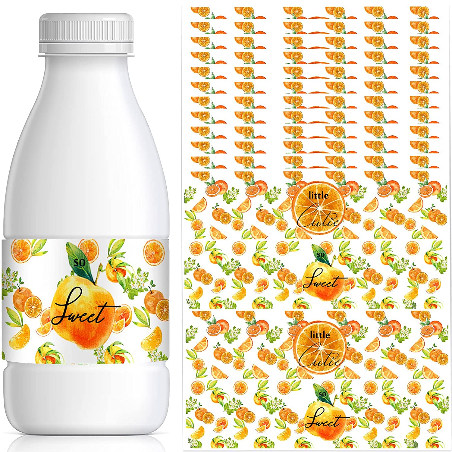 Zonon 48 Pieces Baby Shower Water Bottle Labels Set Includes Little Cutie Orange Bottle Stickers Wraps and So Sweet Labels Plastic Drinking Stickers for Baby Shower Party Decorations, 2 Styles