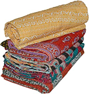 Real Online Seller Vintage Handmade Kantha Quilts, Reversible Throws Whole Sale Tribal Kantha Quilts Vintage Cotton Bed Cover Throw Old Assorted Patches Made Rally