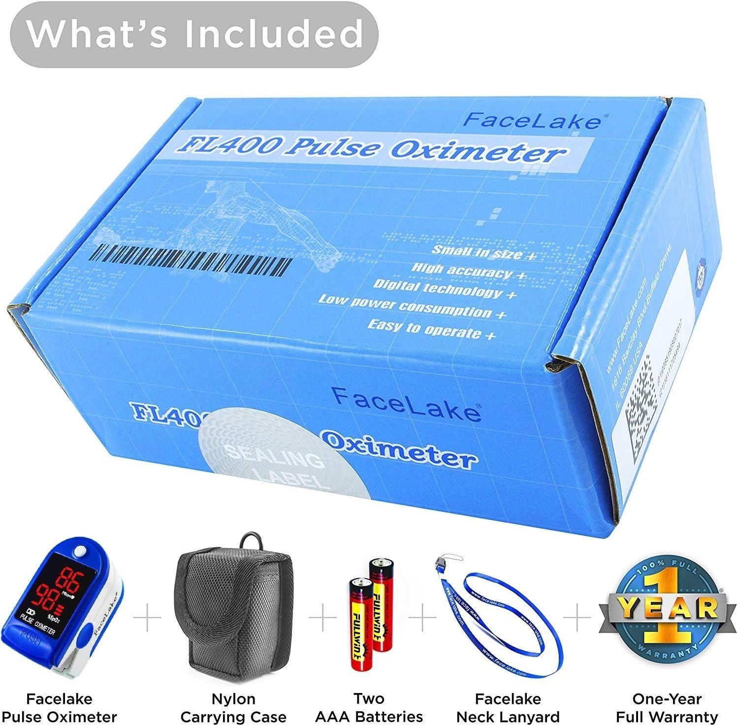 FaceLake ® FL400 Pulse Oximeter Fingertip with Carrying Case, Batteries, Lanyard, and Warranty (Blue)