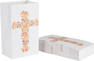 Party Treat Bags - 36-Pack Gift Bags, Religious Party Supplies, Paper Favor Bags, Recyclable Goodie Bags for Kids, Floral Cross Design, 5.2 x 8.7 x 3.3 inches