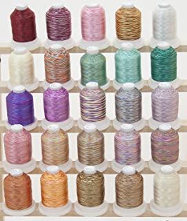 25 Colors Cones Variegated Polyester Embroidery Machine Thread 1000M (1100Y) for Brother Babylock Janome Singer Pfaff Husqvarna Bernina Machines Set 2