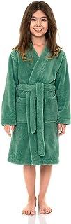 TowelSelections Big Girls' Robe, Kids Plush Kimono Fleece Bathrobe Size 12 Winter Green
