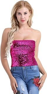 Women's Shiny Sequins Stretch Sleeveless Clubwear Tube Tops