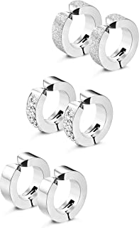 3 Pairs Stainless Steel Mens Womens Hoop Earrings Clip On CZ Non-Piercing