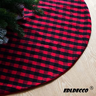 EDLDECCO 54 Inches Christmas Tree Skirt Red and Black Plaid Buffalo Check Double Layers Handicraft Xmas Decoration Holiday Ornaments